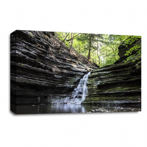 Waterfall Canvas Wall Art Picture Forest White Grey Black Print